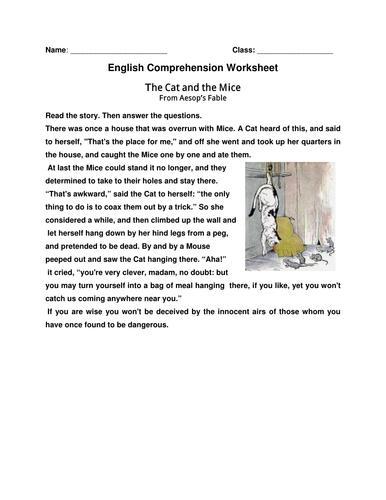 English Comprehension Worksheet