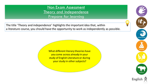 Introductory lessons to Theory and Independence AQA Literature B