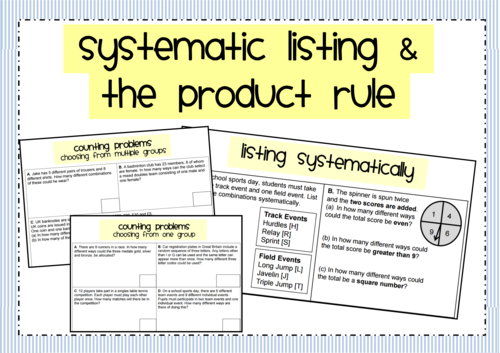 Systematic Listing & the Product Rule for Counting GCSE 9-1 Maths