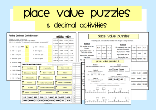 decimal place value puzzles by readylessons teaching resources tes. Black Bedroom Furniture Sets. Home Design Ideas