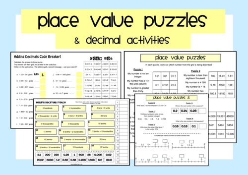 place value puzzles decimal activities teaching resources. Black Bedroom Furniture Sets. Home Design Ideas