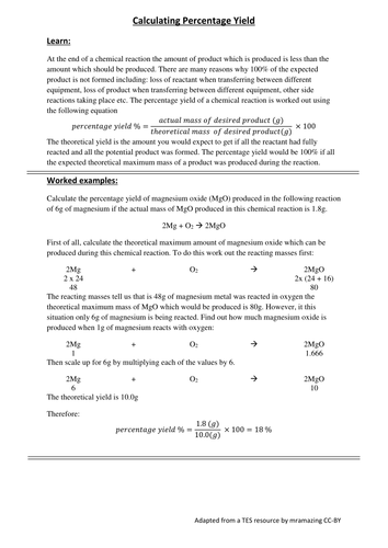 Chemistry: Calculating Percentage Yield