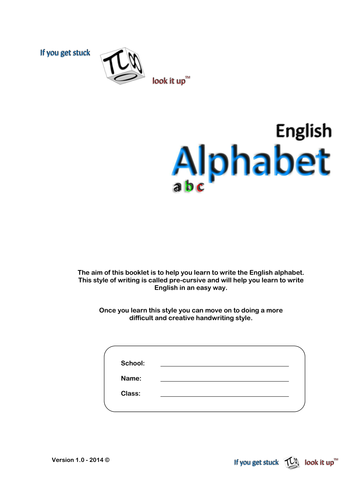 Writing the English Alphabet - 15 pages in total (homework or classwork booklet)