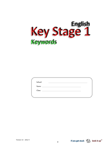 Keystage 1 - Keywords (all) - 10 words per sheet - trace, cover, ... 160 words in total