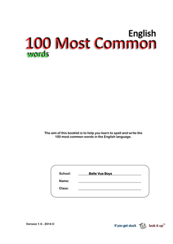 100 Most Common Words in the English Language