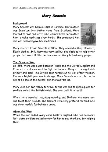 KS1 Non-fiction Reading Comprehension text and questions on the Victorian  Mary Seacole.