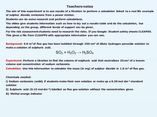 Titration investigation-Power station emissions