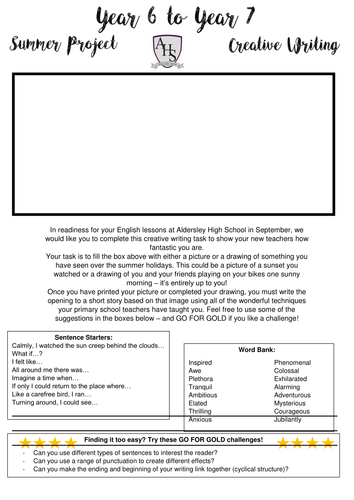 Year 6 to Year 7 Literacy Summer Project - Transition