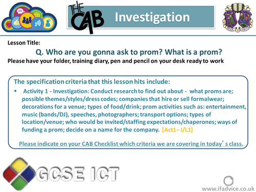 Edexcel CAB prompts - Investigation section