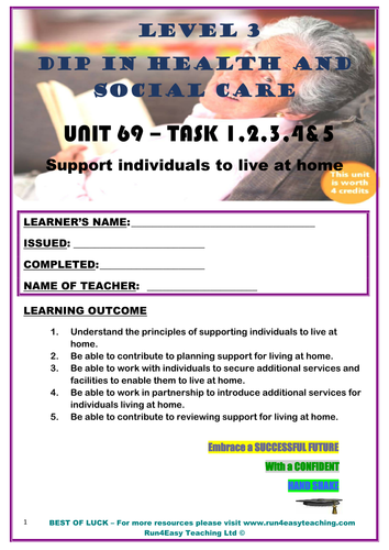 WORKSHEET– SUPPORT INDIVIDUALS TO LIVE AT HOME –TASK 1 & 4 (L3 DIPLOMA IN HSC)