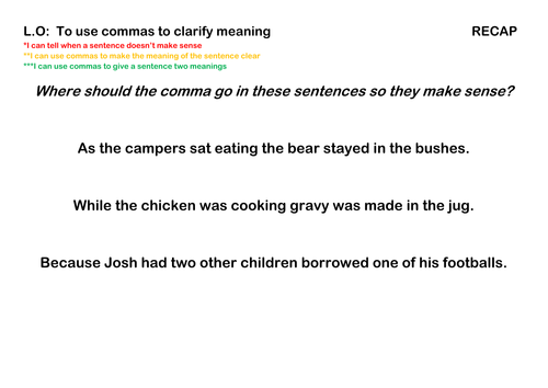 Using commas to clarify the meaning of sentences