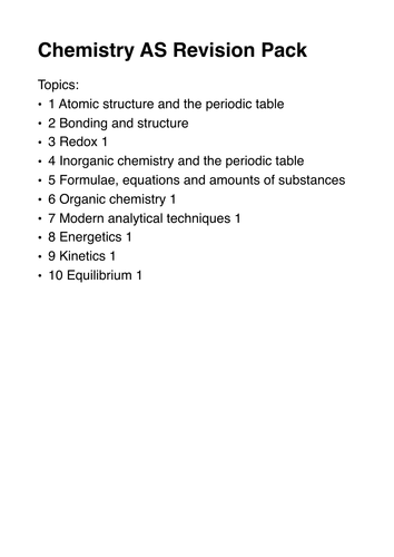 AS CHEMISTRY Revision Pack