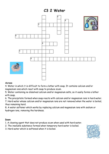 AQA C3 Water Crossword with solution