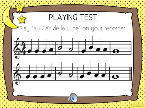 """""""Au Claire de la Lune"""" Recorder Cat PowerPoint with Music"""