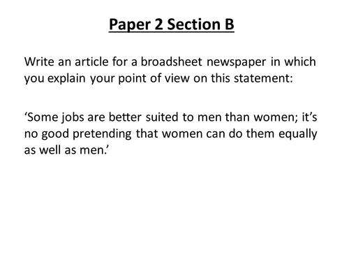 New Spec GCSE English Language Paper 2 Section B Tasks