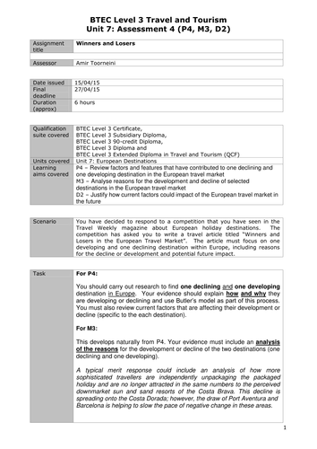 Level 3 BTEC Travel and Tourism (QCF) Unit 7 Assignment Briefs
