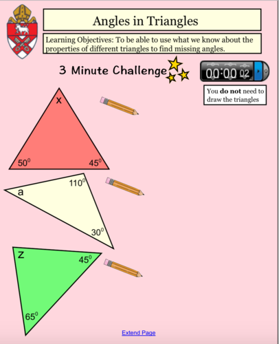 Angles in Special Triangles and Quadrilaterals