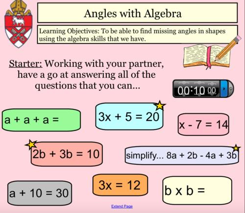 Angles with Algebra