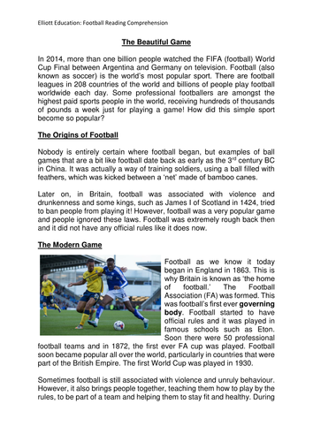 Upper Key Stage 2 year 5/6 Football themed Reading Comprehension