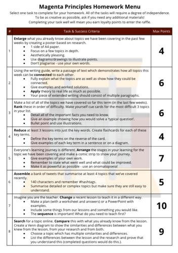 Magenta Principles Homework Menu