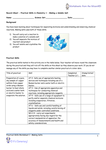 AQA 9-1 GCSE Chemistry - Required Practicals - Practical 1 - Making Salts