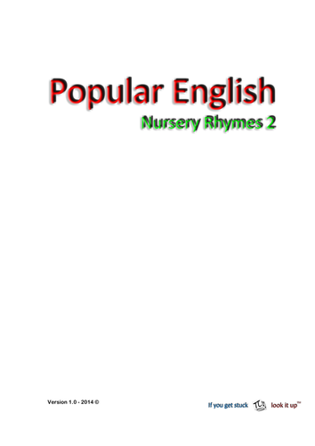 Nursery Rhymes 2  (reading and hand writing)