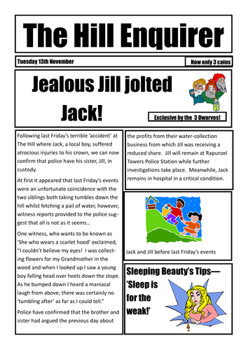 fairytale newspaper report by mini minx33 teaching resources tes. Black Bedroom Furniture Sets. Home Design Ideas