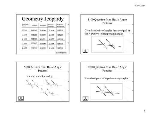 Geometry Jeopardy Power Point