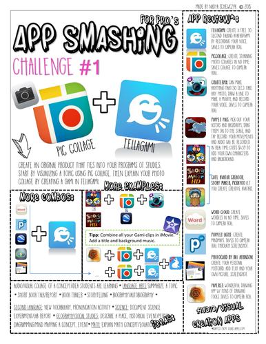 6 App Smashing Challenge Cards-Tons of Ideas!!!
