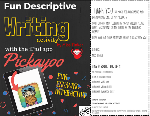 Descriptive Writing Activity using the iPad app Pickayoo *Fun*Engaging*