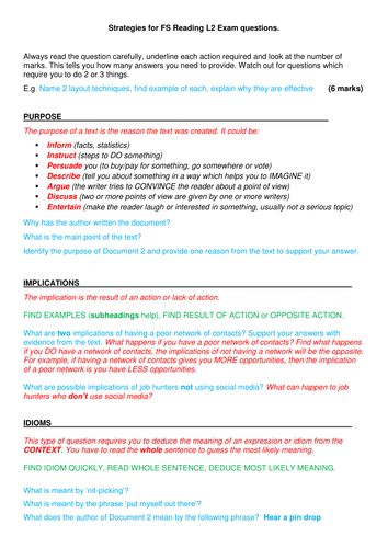 Functional Skills English Level 2 Reading Assessment: Exam question types  and strategies