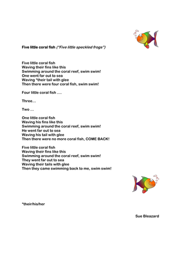 Five little fishes swimming in the sea by yjdj teaching for Little fish song