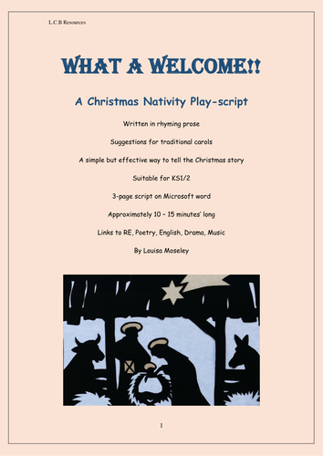 What a Welcome!!! Christmas Nativity playscript