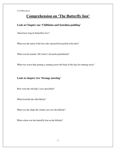 Comprehension on 'The Butterfly Lion' By Michael Morpurgo
