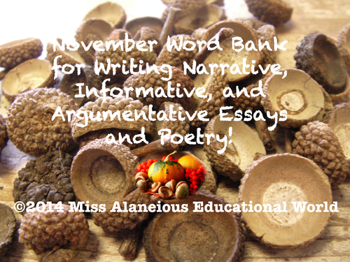 November Word Bank for Successful Writing, Poetry, and Writer's Notebook!