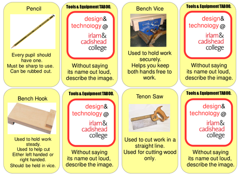 Ks3 Woodwork Tools Equipment Taboo Cards By Woodworm Teaching