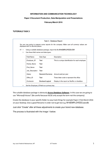 IGCSE ICT Paper2-Feb-Mar 2016 Task 3 Database