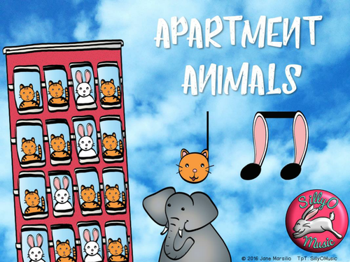 Apartment Animals - Beat & Rhythm for Primary!  Quarter Notes and 8th Notes with embedded audio