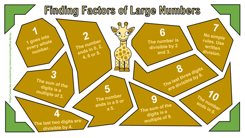 tricks to find factors of large numbers by miss becky teaching