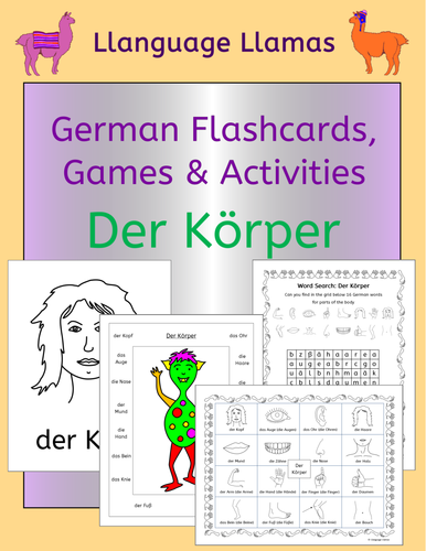 German Parts of the Body Vocabulary Activities, Games and Puzzles