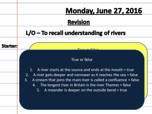 Rivers Revision Quiz