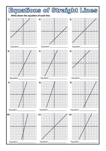 Equations from a Straight Line Worksheet