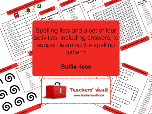 Y3 Spelling Activities Pack - Suffix ~less