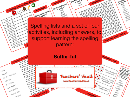 Suffix -ful spelling activities