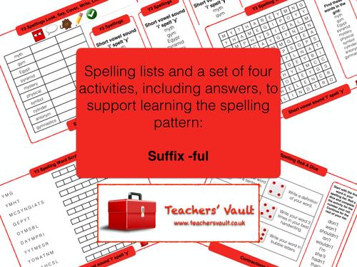 Suffix -ful spelling activities