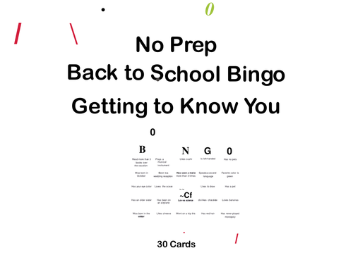 Editable Back to School Bingo-Getting to Know You-No Prep