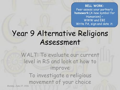 Alternative Religions Assessment Lesson