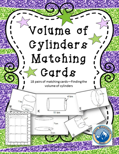 Volume of Cylinders Matching Card Set