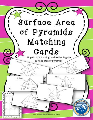 Surface Area of Pyramids Matching Card Set