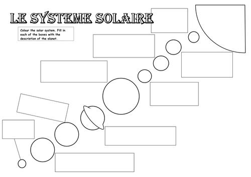 Le système solaire worksheet